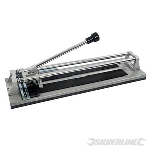 Silverline Heavy Duty Tile Cutter 400mm with Width Guide and Tungsten Carbide Cutting Wheel