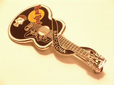 Barcelona black dead Rocker Elvis Presley styled acoustic Guitar White|Black hrc Collectible-Very Good Hard Rock