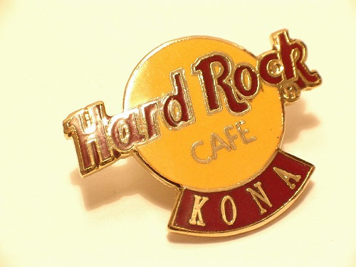 KONA HARD ROCK CAFE PIN BADGE B15-346 COLLECTORS PIN Basic brown & yellow logo