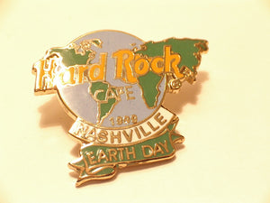 NASHVILLE 1999 EARTH DAY Hard Rock Cafe enamel PIN Map of World Logo   B16-365 Collectible-Very Good