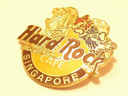 Singapore Logo with Gold Merlion and Flowers - Cloisonne (# 87 HRC PIN B15-439
