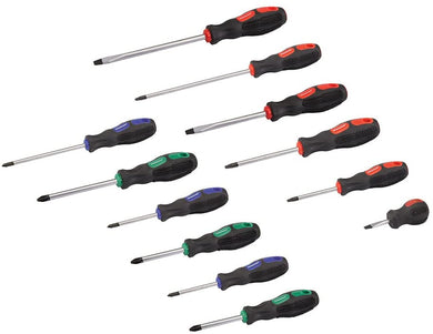 Silverline 248250 General Purpose Screwdriver Set Slotted, Pozi & Phillips 12-Pieces
