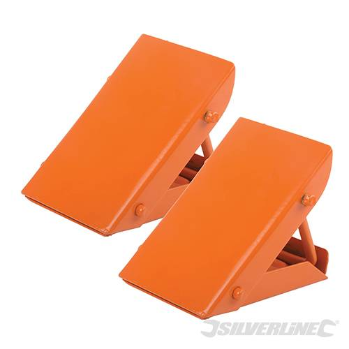 Silverline 525748 Folding Steel Wheel Chocks Pair