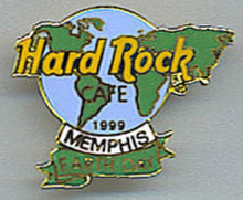 MEMPHIS HARD ROCK CAFE 1999 EARTH DAY green & blue Map of World Logo B-1 -491