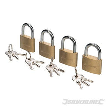 Silverline 675152 Solid Brass Keyed-alike Padlocks 40mm Pack of 4