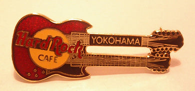 Yokohama Red Gibson Double-Neck Guitar - raised long Letters 3LC on Back B 19-72-1049 Collectible-Very Good