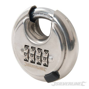Silverline 926157 4-Digit Combination Disc Padlock Stainless Steel 70mm