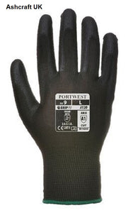 Portwest Black PU Palm Gloves A120BK Size: Size 9 (Large)