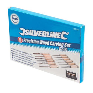 Silverline 250241 Precision Wood Carving Set, 200 mm - 12 Pieces