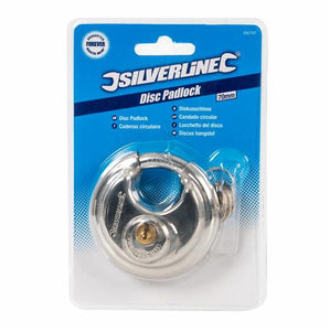 Silverline 292707 Stainless Steel Disc Padlock 70mm