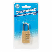 Silverline 744867 3-Digit Combination Padlock Brass 26mm