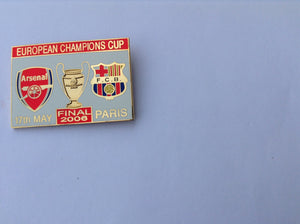 Arsenal vs Barcelona uefa champions league final Paris05/06 collectors pin badge