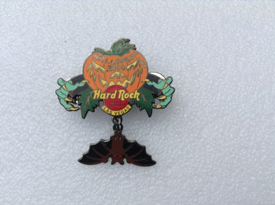 Las Vegas Hotel & Casino Pumpkin with green hands extended pin with dangling upside-down brown and black bat with red eyes B 19 -4769