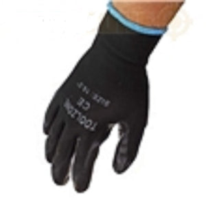 "X 2 pairs Toolzone 10.5"" Nitrile Black Coated Work Gloves"