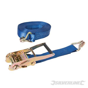 Silverline MS21 Tie-Down Ratchet Strap with J-Hook  Lashing Capacity 4750kg Breaking Strain