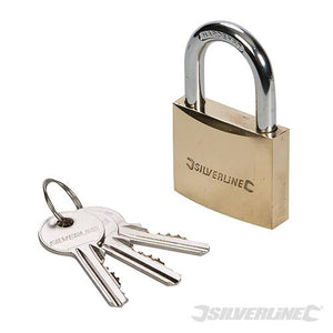 BRASS PADLOCK 50MM MSS04 By SILVERLINE