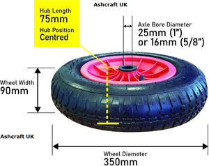 Wheelbarrow replacement wheel 350mmX85mm 4 ply Sold by Ashcraft UK