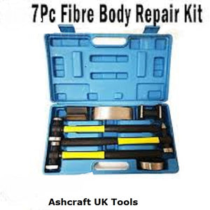AU999 Toolzone 7 Piece Fibre Handle Body Repair Kit Dent Panel Beating Hammer Dolly