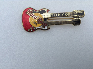 Tokyo Japan B 8-285 Horizontal red doubleneck guitar red on yellow logo collect
