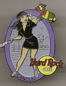 Cancun Black Dress Server Girl w/pinata inside purple oval Hard rock cafe pin B 5-326