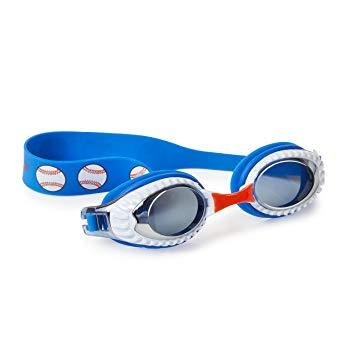Blue and white swimming goggles with baseball print and baseball style lens