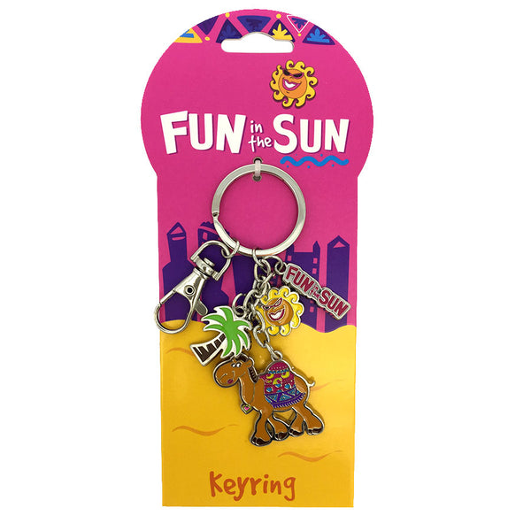 FUN IN THE SUN PINK CAMEL CHARM KEYRING