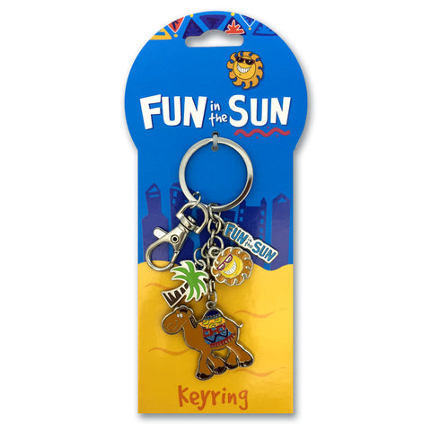 FUN IN THE SUN BLUE CAMEL CHARM KEYRING