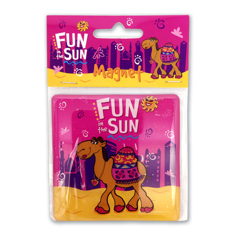FUN IN THE SUN PINK CAMEL SQ MAGNET