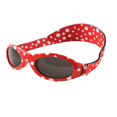 Red polka dot sunglasses with headstrap