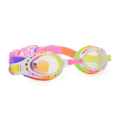 Rainbow coloured confetti detailed swimming goggles with diamantes around the lens and head strap