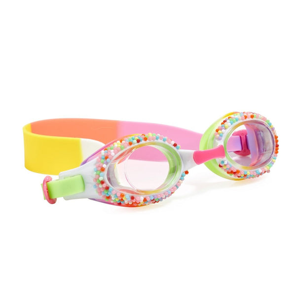 Yellow swimming goggles with cake style detail around lens and head strap