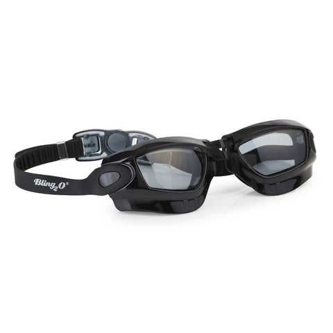 Black swimming googles with wider front lens and head strap