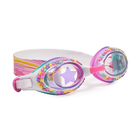 White swimming googles with mini star details around the lens and arty rainbow headstrap design