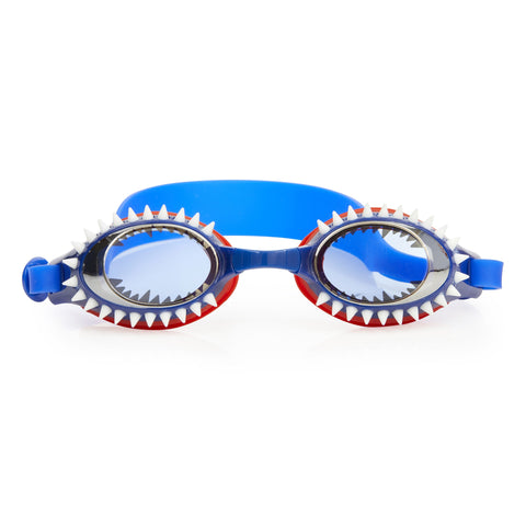 blue swimming goggles with red and navy trim, white shark teeth detail and head strap