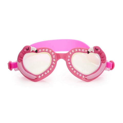 Pink love heart shaped swimming goggles with flamingo design and head strap