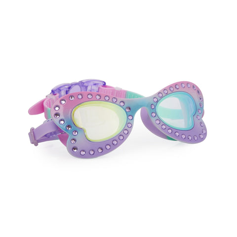 Pink and lilac butterfly swimming goggles with diamante finish and headstrap