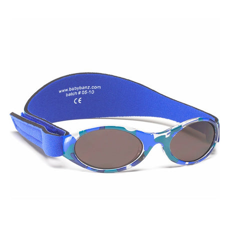 Blue camo Sunglasses with head side strap