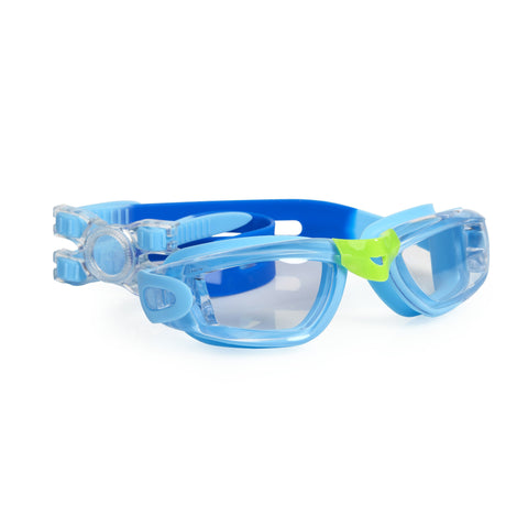 Sky blue swimming googles with rectangle frame and headstrap