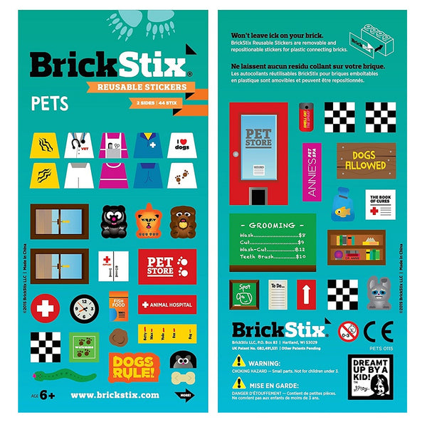 Pets Themed stickers in green pack