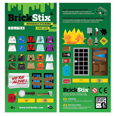 Yalla Toys l BrickStix l Zombies Theme Reusable Stickers