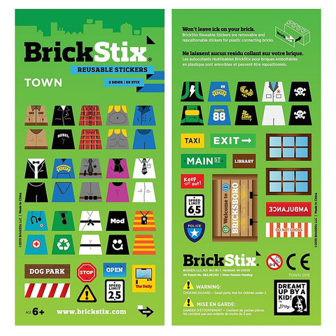 Town themed stickers in a green packet