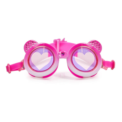 Bright Pink bear shaped swimming goggles with love heart lens and headstrap