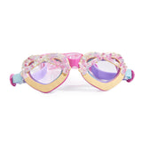 Multi-colour pretzel shaped swimming goggles with diamantes and headstreap