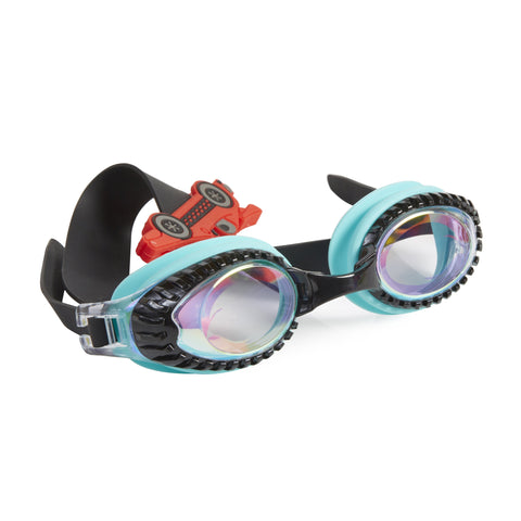 Black and teal trimmed swimming goggles with car design on headstrap