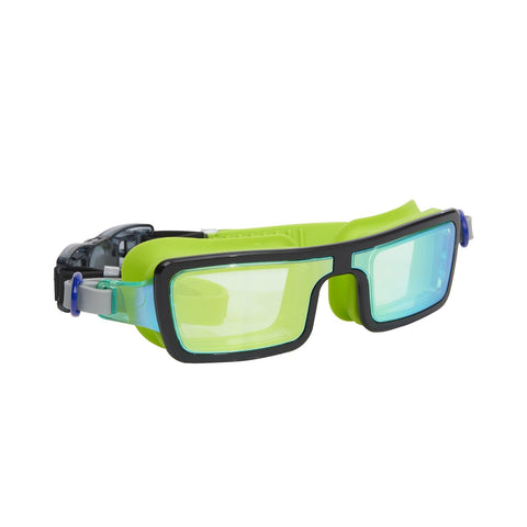 Lime green swimming goggles with rectangle lens and headstrap