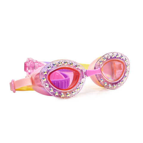 Sparkly diamante detailed Pink swimming goggles with head strap
