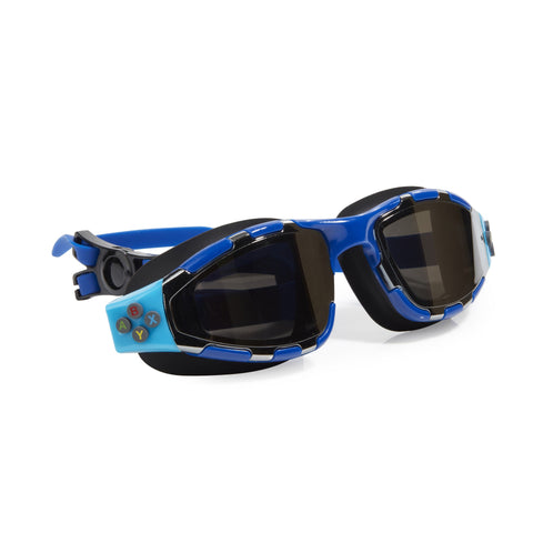 Blue with Black trim swimming goggles with controller button details on the side and headstrap