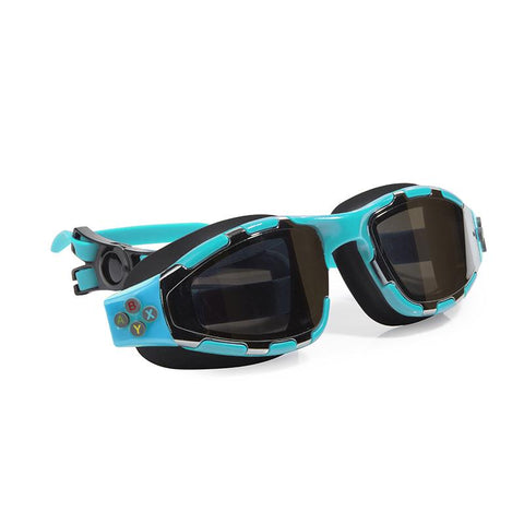 Light blue swimming goggles with controller buttons detail on the side and headstrap