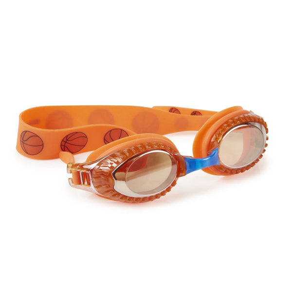 Orange basketball themed swimming goggles with basketball details on lens