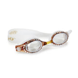 Clear white swimming googles with Swarovski Crystals embedded on a gold lens fame.